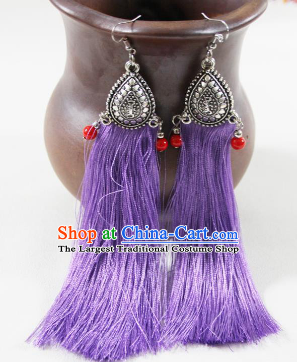 Chinese Traditional Ethnic Purple Tassel Earrings Yunnan National Ear Accessories for Women