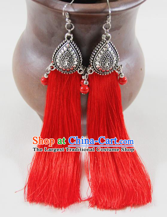Chinese Traditional Ethnic Red Tassel Earrings Yunnan National Ear Accessories for Women