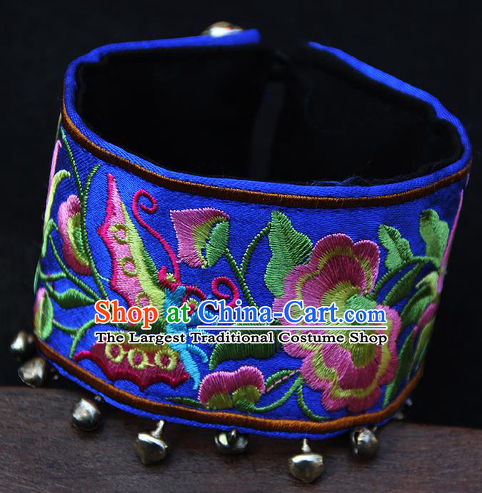Chinese Traditional Ethnic Wrist Accessories Miao Nationality Embroidered Royalblue Bracelet for Women