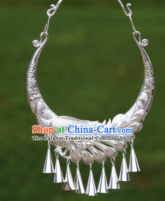 Chinese Traditional Minority Carving Phoenix Necklace Ethnic Folk Dance Accessories for Women