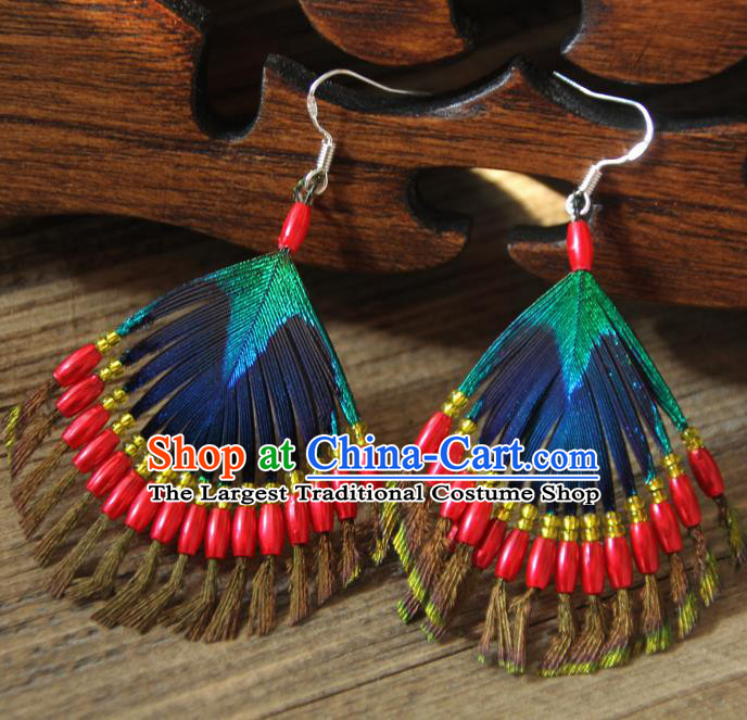 Chinese Traditional Ethnic Red Beads Feather Earrings National Ear Accessories for Women
