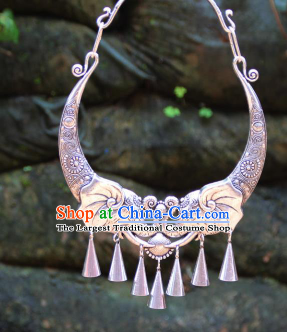 Chinese Traditional Minority Carving Elephants Necklace Ethnic Folk Dance Accessories for Women