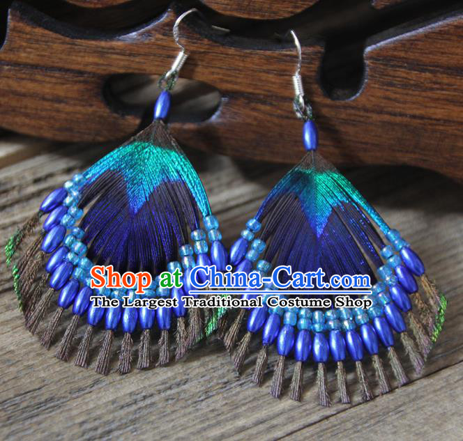 Chinese Traditional Ethnic Royalblue Beads Feather Earrings National Ear Accessories for Women