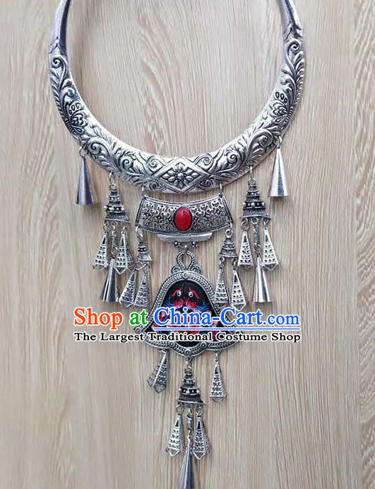 Chinese Traditional Minority Embroidered Black Carving Necklace Ethnic Folk Dance Accessories for Women