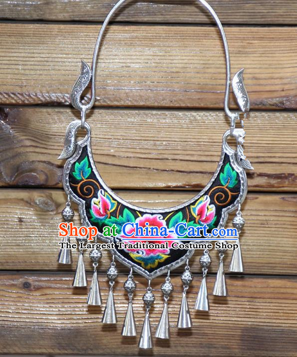 Chinese Traditional Miao Minority Embroidered Red Peony Longevity Lock Necklace Ethnic Folk Dance Accessories for Women