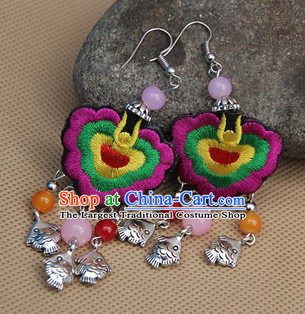 Chinese Traditional Ethnic Purple Embroidered Earrings National Ear Accessories for Women