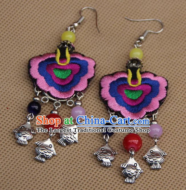 Chinese Traditional Ethnic Pink Embroidered Earrings National Ear Accessories for Women
