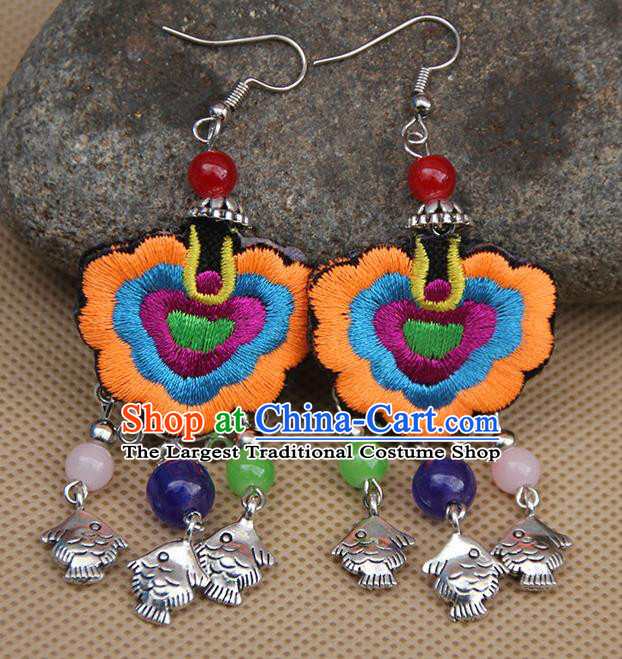 Chinese Traditional Ethnic Orange Embroidered Earrings National Ear Accessories for Women