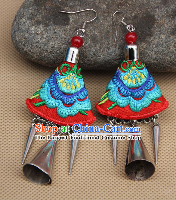 Chinese Traditional Ethnic Embroidered Blue Peony Earrings National Ear Accessories for Women