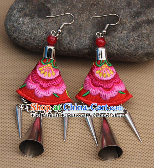 Chinese Traditional Ethnic Embroidered Pink Peony Earrings National Ear Accessories for Women