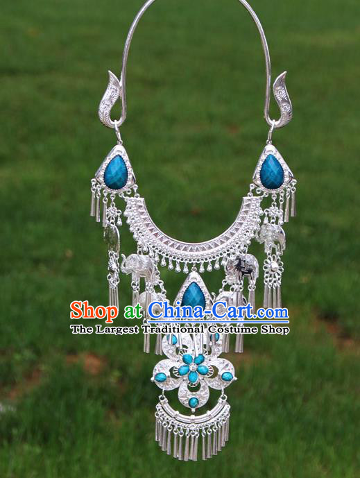 Chinese Traditional Miao Minority Blue Flowers Crystal Necklace Ethnic Accessories for Women