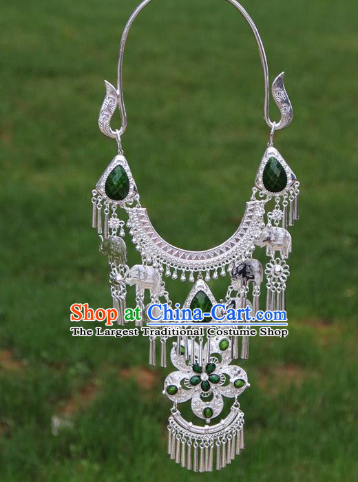 Chinese Traditional Miao Minority Green Flowers Crystal Necklace Ethnic Accessories for Women