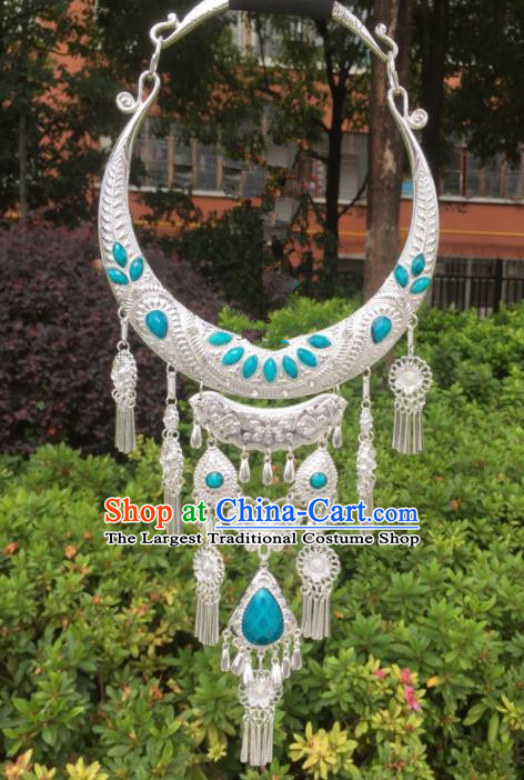 Chinese Traditional Jingpo Minority Blue Tassel Necklace Ethnic Folk Dance Accessories for Women