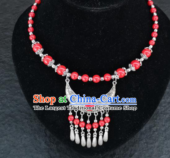 Chinese Traditional Minority Red Beads Necklace Ethnic Folk Dance Accessories for Women