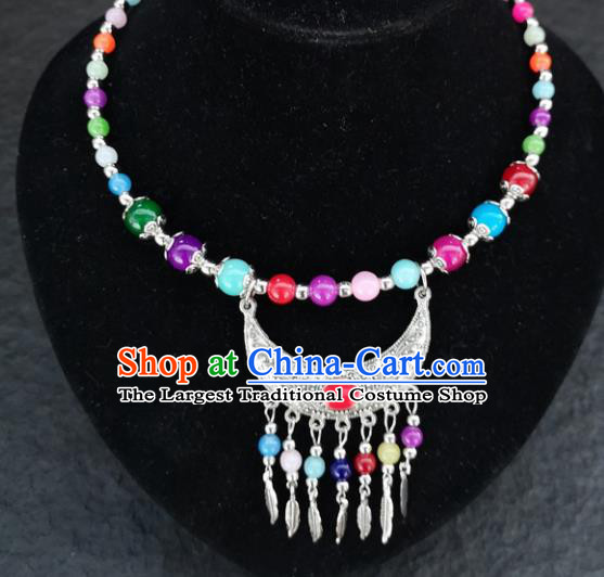 Chinese Traditional Minority Colorful Beads Necklace Ethnic Folk Dance Accessories for Women
