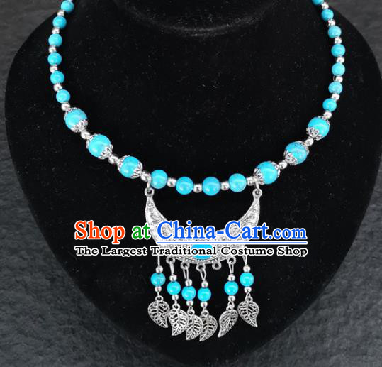 Chinese Traditional Minority Blue Beads Necklace Ethnic Folk Dance Accessories for Women