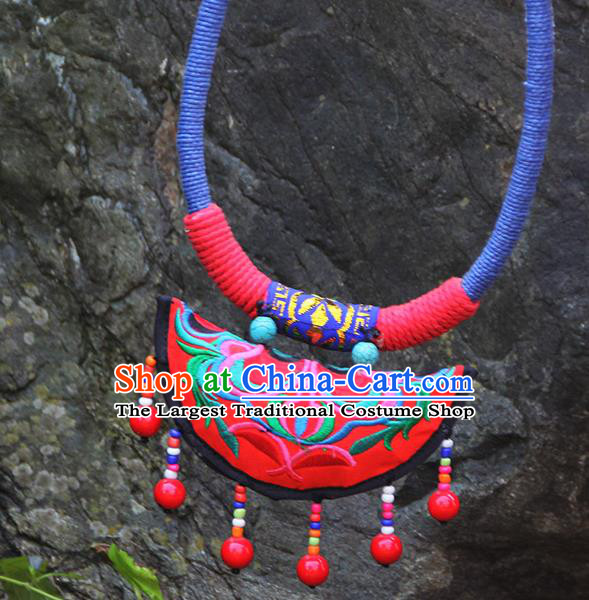 Chinese Traditional Minority Embroidered Necklace Ethnic Folk Dance Accessories for Women