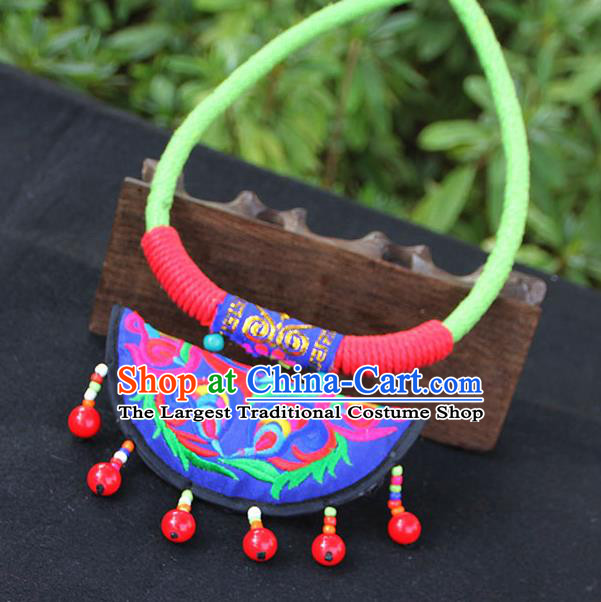 Chinese Traditional Minority Embroidered Blue Necklace Ethnic Folk Dance Accessories for Women