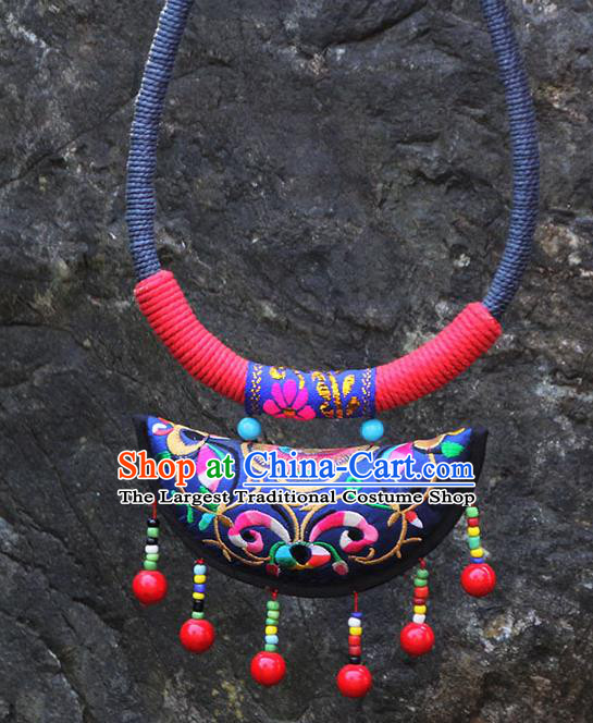 Chinese Traditional Minority Embroidered Royalblue Necklace Ethnic Folk Dance Accessories for Women