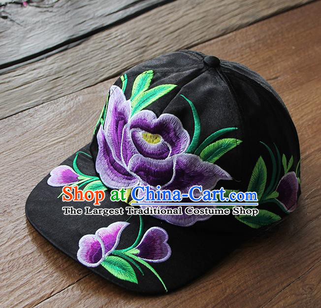 Chinese Traditional Embroidered Purple Peony Baseball Cap Yunnan Minority Black Hat for Women