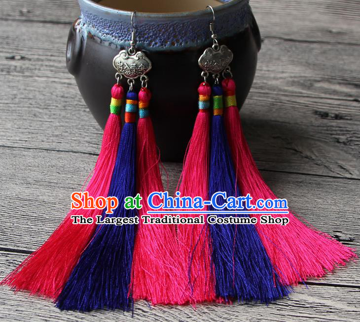 Chinese Traditional Ethnic Pink and Purple Tassel Earrings National Longevity Lock Ear Accessories for Women