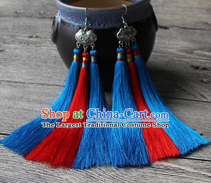 Chinese Traditional Ethnic Red and Blue Tassel Earrings National Longevity Lock Ear Accessories for Women