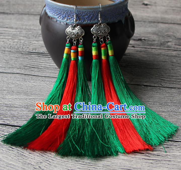 Chinese Traditional Ethnic Red and Green Tassel Earrings National Longevity Lock Ear Accessories for Women