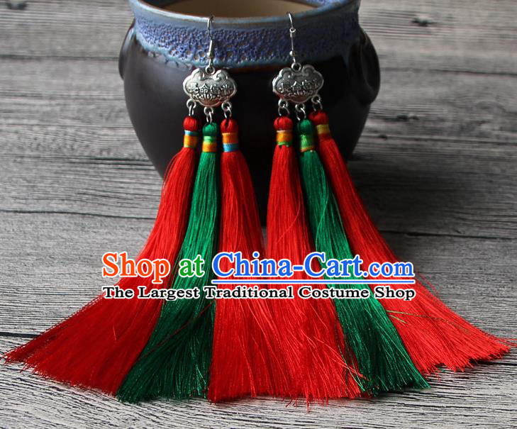 Chinese Traditional Ethnic Green and Red Tassel Earrings National Longevity Lock Ear Accessories for Women