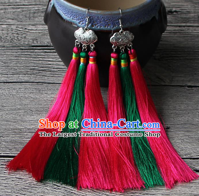 Chinese Traditional Ethnic Pink and Green Tassel Earrings National Longevity Lock Ear Accessories for Women