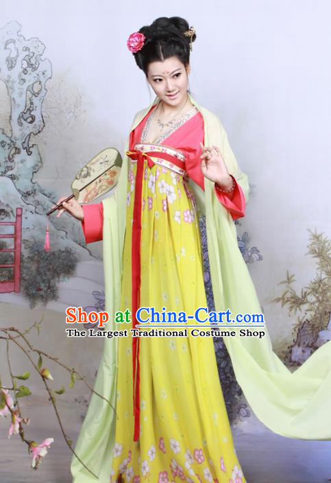 Chinese Traditional Tang Dynasty Imperial Consort Historical Costumes Ancient Peri Goddess Hanfu Dress for Women