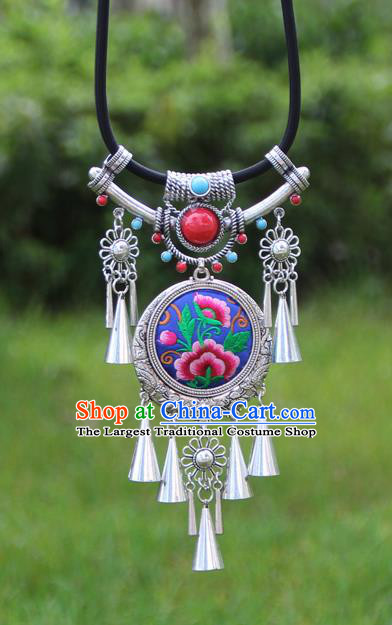 Chinese Traditional Minority Embroidered Peony Blue Necklace Ethnic Folk Dance Accessories for Women