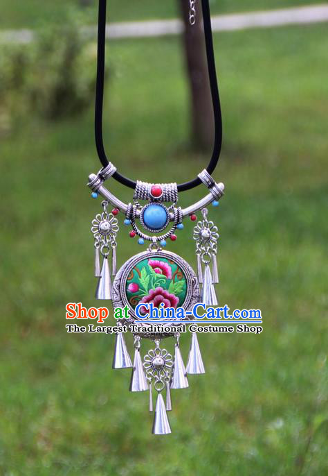 Chinese Traditional Minority Embroidered Peony Green Necklace Ethnic Folk Dance Accessories for Women