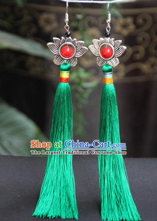 Chinese Traditional Ethnic Green Tassel Lotus Earrings National Ear Accessories for Women