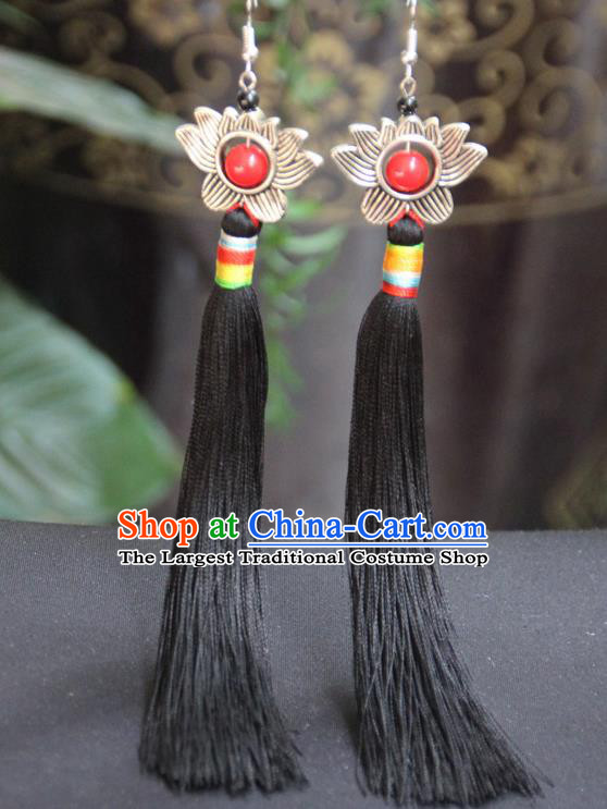 Chinese Traditional Ethnic Black Tassel Lotus Earrings National Ear Accessories for Women