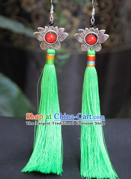 Chinese Traditional Ethnic Light Green Tassel Lotus Earrings National Ear Accessories for Women