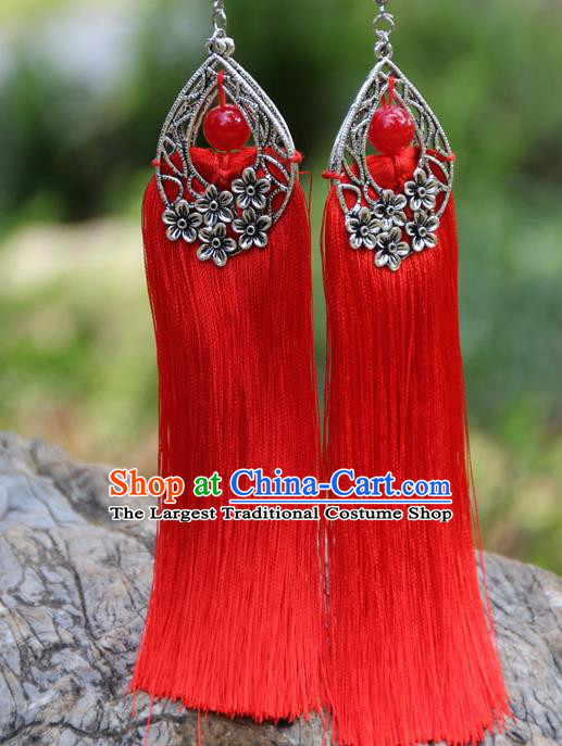 Chinese Traditional National Ethnic Bride Earrings Red Tassel Ear Accessories for Women