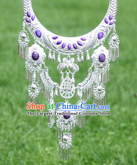 Chinese Traditional National Ethnic Purple Necklace Tassel Necklet Jewelry Accessories for Women