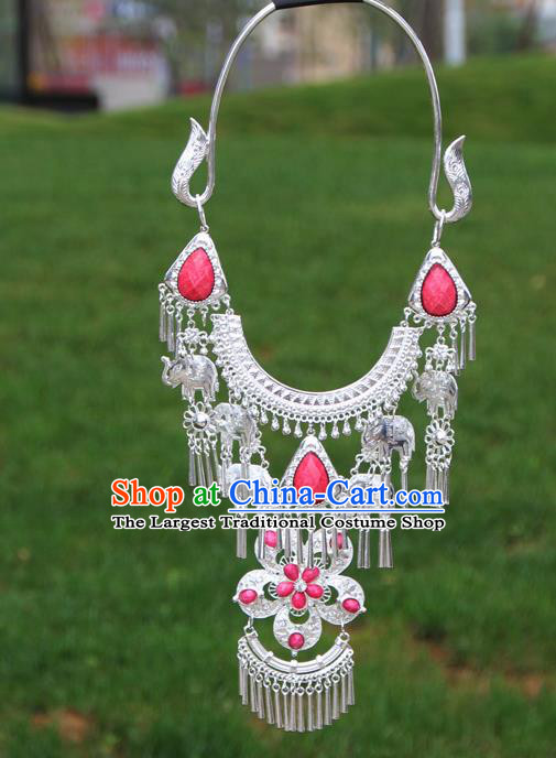Chinese Traditional National Ethnic Flowers Tassel Pink Necklace Jewelry Accessories for Women