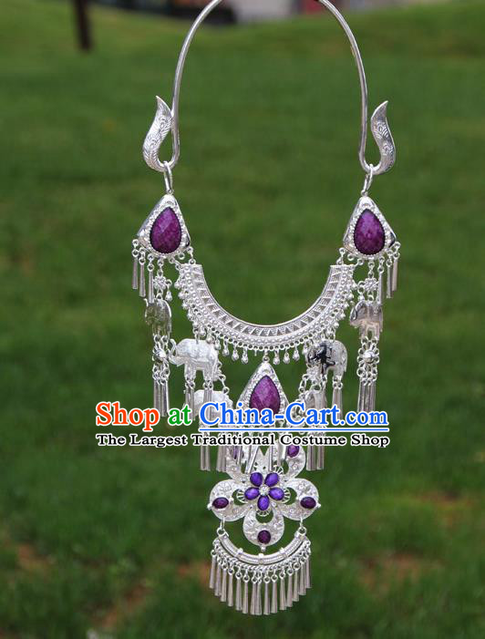 Chinese Traditional National Ethnic Flowers Tassel Purple Necklace Jewelry Accessories for Women