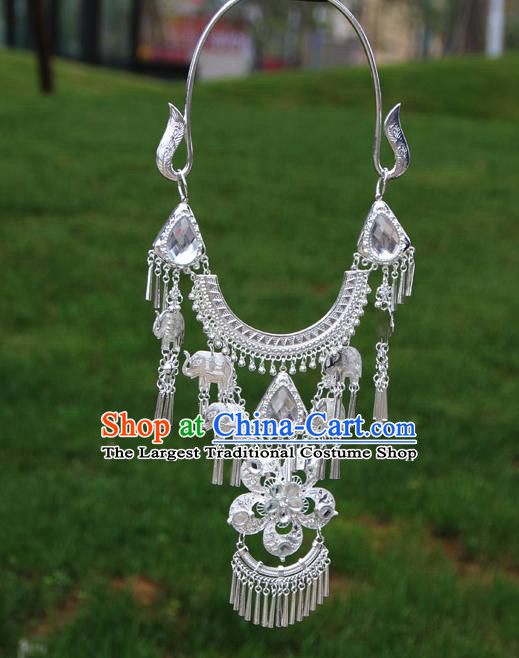 Chinese Traditional National Ethnic Flowers Tassel Crystal Necklace Jewelry Accessories for Women