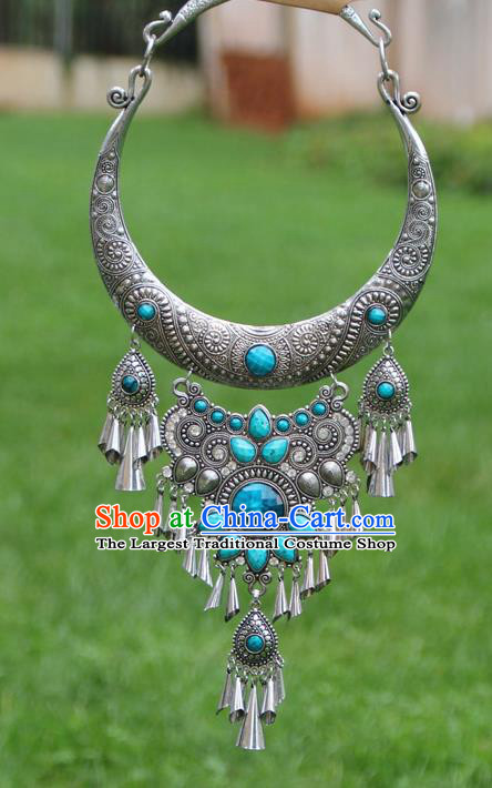 Chinese Traditional National Ethnic Jewelry Accessories Blue Necklace for Women