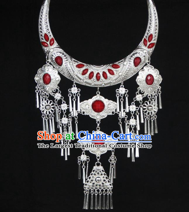 Chinese Traditional National Jewelry Accessories Ethnic Red Necklace for Women