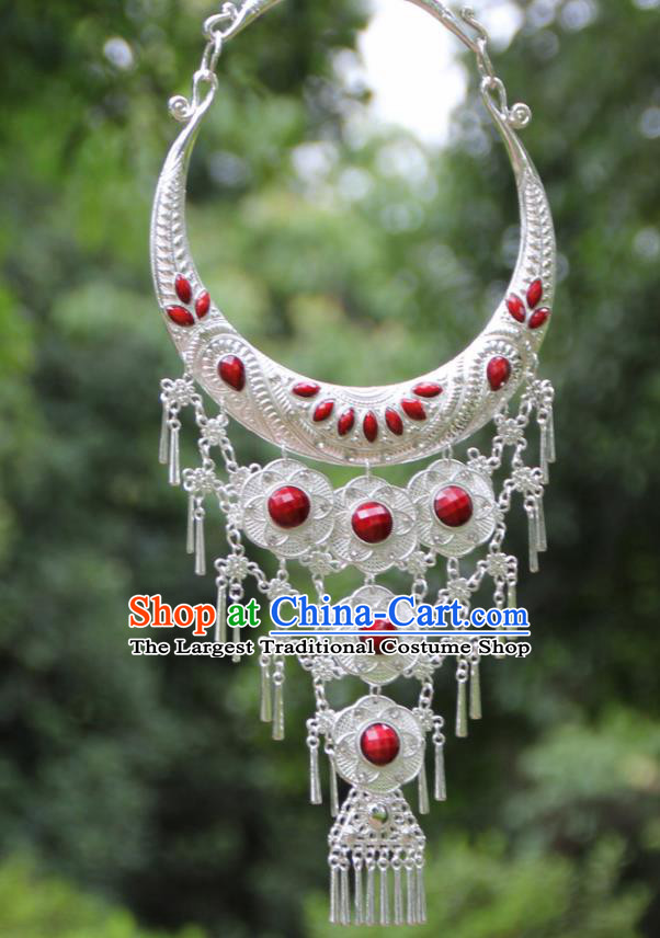 Chinese Traditional National Jewelry Accessories Ethnic Tassel Red Necklace for Women