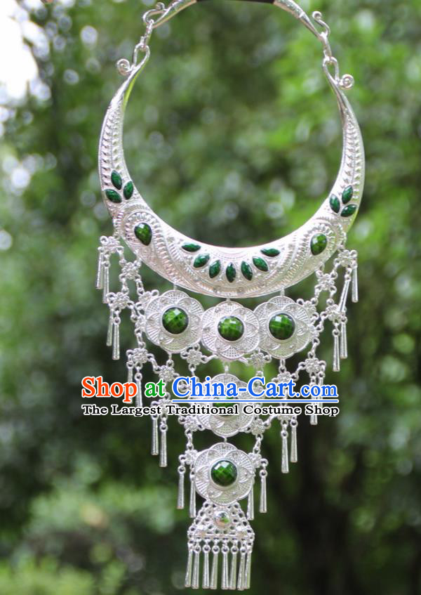 Chinese Traditional National Jewelry Accessories Ethnic Tassel Green Necklace for Women