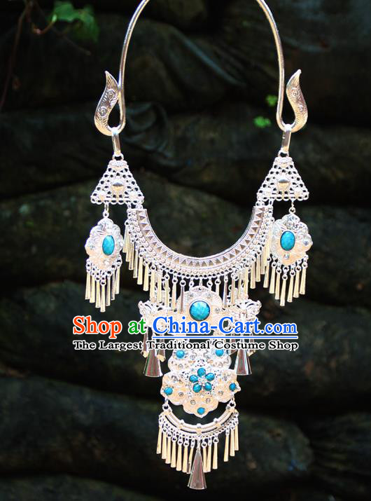 Chinese Ethnic Tassel Blue Necklace Traditional National Jewelry Accessories for Women