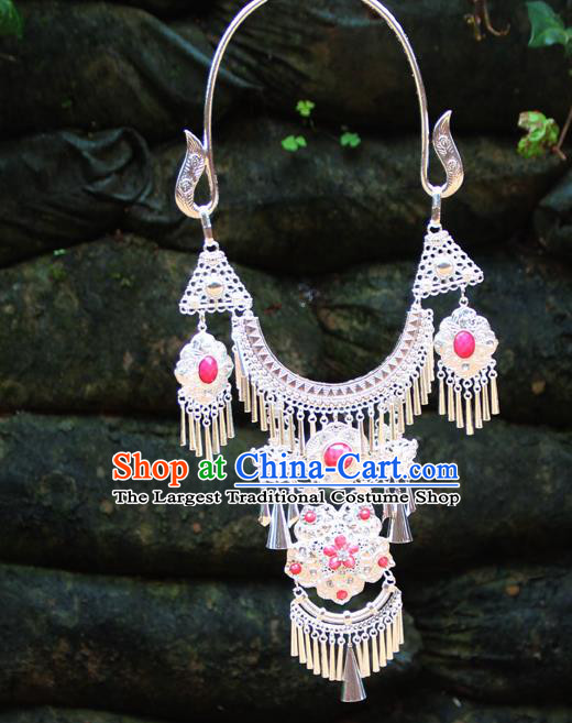 Chinese Ethnic Tassel Pink Necklace Traditional National Jewelry Accessories for Women