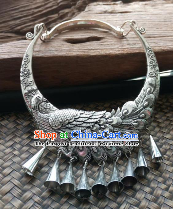 Chinese Ethnic Carving Peacock Necklace Traditional National Jewelry Accessories for Women