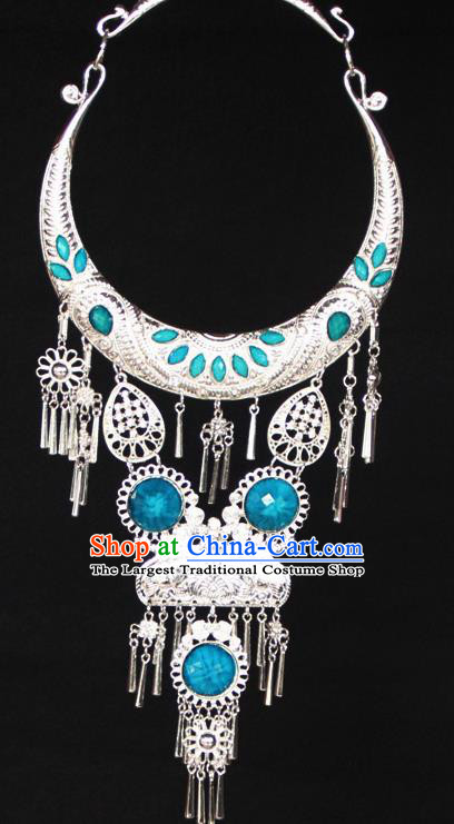 Chinese Ethnic Carving Blue Necklace Traditional National Jewelry Accessories for Women