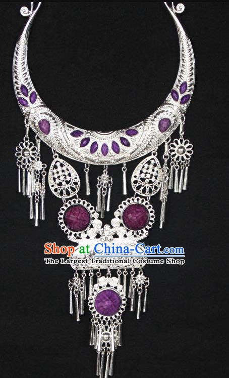 Chinese Ethnic Carving Purple Necklace Traditional National Jewelry Accessories for Women