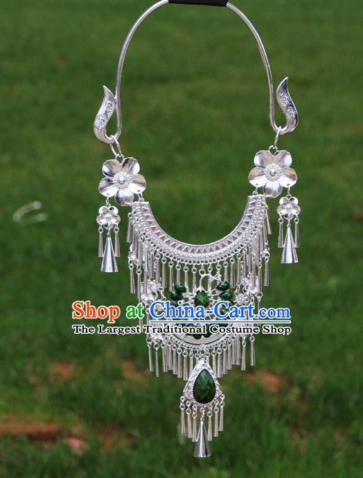 Chinese Ethnic Green Peacock Necklace Traditional National Jewelry Accessories for Women
